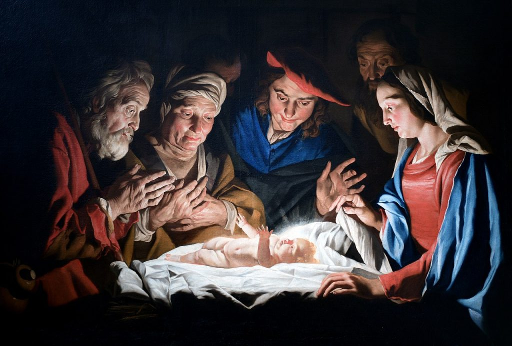 Adoration of the Shepherds  by Dutch painter Matthias Stomer, 1632