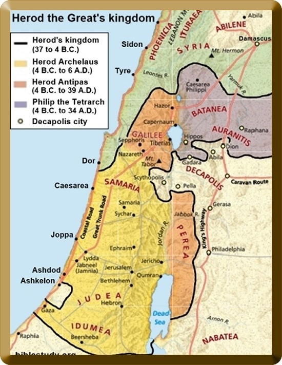 Map of Herod's Kingdom and how it was divided between his remaining sons