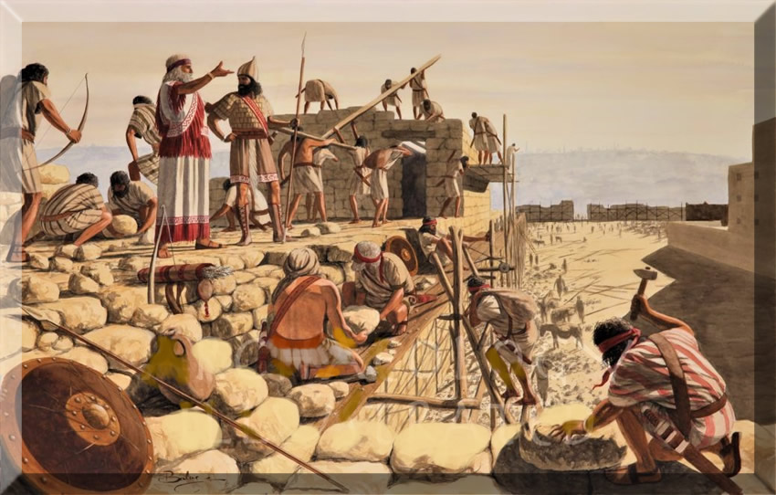 Nehemiah directing the building of the walls of Jerusalem