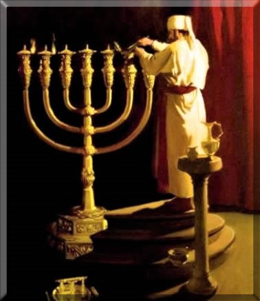 Priest lighting the Menorah in the Temple