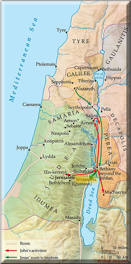 Map of Jesus' travel form Nazareth to John's baptism, then to the wilderness...