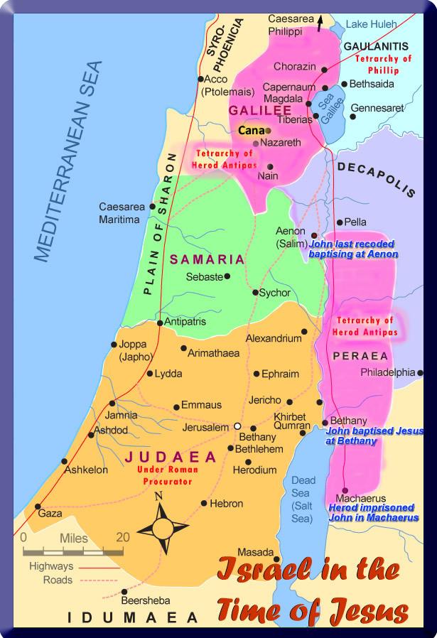 Map of John the baptiser's travels