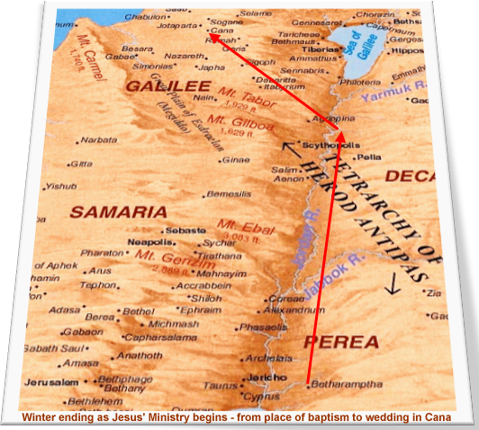 Map of journey from John's baptism to the wedding in Cana