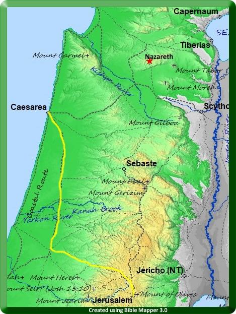 Map of Paul's journey from Jerusalem to Caesarea